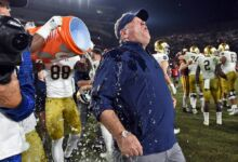 Notre Dame Heach Coach Brian Kelly gets showered in Gatorade after another perfect regular season.