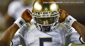 Notre Dame Fighting Irish quarterback Everett Golson (5) during pre game warmups before their game against the Florida State Seminoles at Doak Campbell Stadium. Mandatory Credit: John David Mercer-USA TODAY Sports